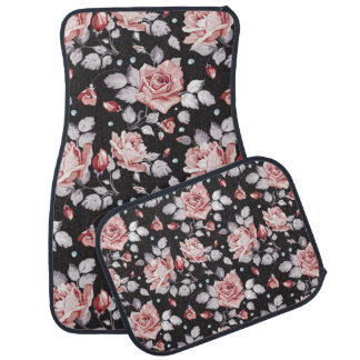 Tapis floral rose vintage de plancher de voiture