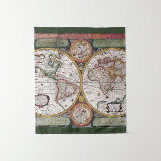Tapisserie antique de la carte   du monde