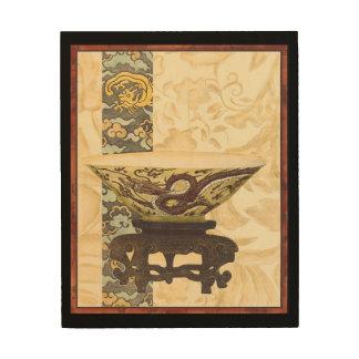 Tapisserie asiatique avec la conception de cuvette impression sur bois