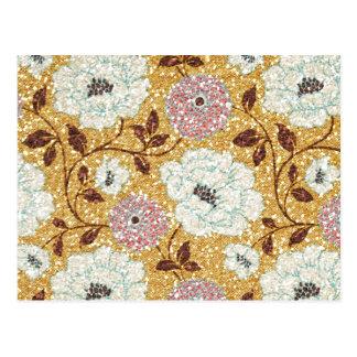 Tapisserie florale de brocard d'automne éclatant carte postale