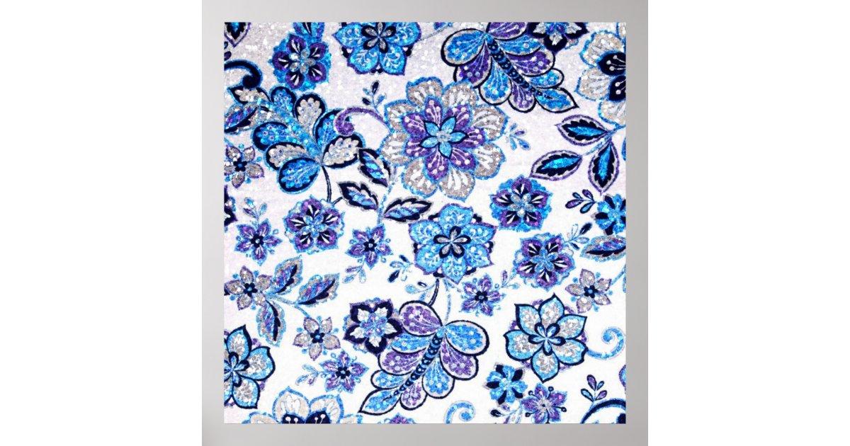 tapisserie florale scintillante dans bleu et poster zazzle. Black Bedroom Furniture Sets. Home Design Ideas