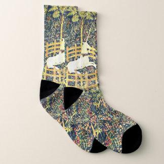 Tapisserie médiévale de licorne - chaussettes