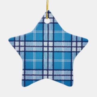 Tartan bleu ornement étoile en céramique