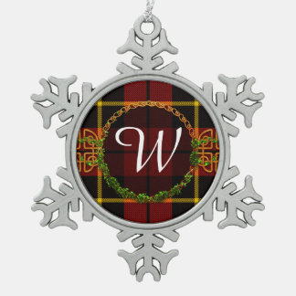 Tartan de Wallace de monogramme Ornement Flocon De Neige Pewter