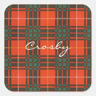Tartan d'écossais de plaid de clan de Crosby Sticker Carré