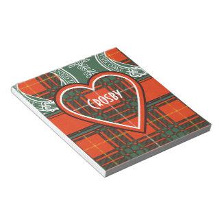 Tartan d'écossais de plaid de clan de Crosby Bloc-notes