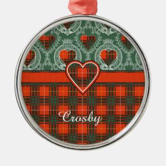 Tartan d'écossais de plaid de clan de Crosby Ornement Rond Argenté