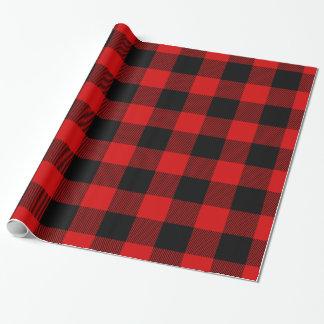 Tartan énorme noir rouge de bûcheron de plaid de papier cadeau