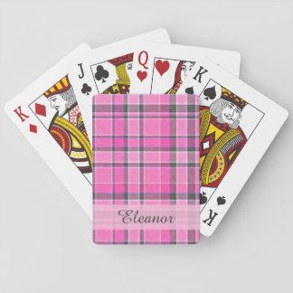 Tartan gris rose de plaid cartes à jouer poker