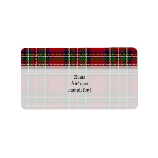 Tartan/rouge de Stewart de clan de PixDezines+vert Étiquette D'adresse