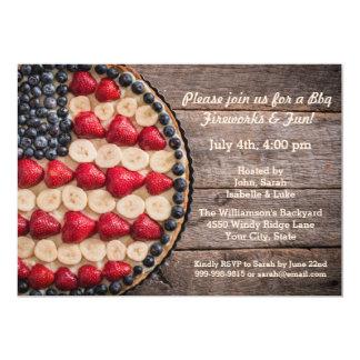 Tarte américain de fruit de drapeau des Etats-Unis Carton D'invitation 12,7 Cm X 17,78 Cm