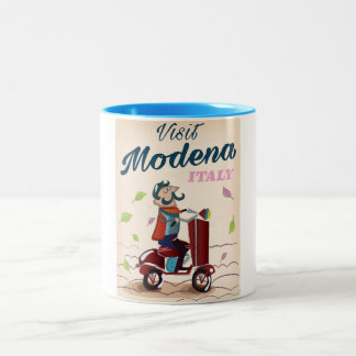 Tasse 2 Couleurs Affiche de voyage de scooter de Modène Italie