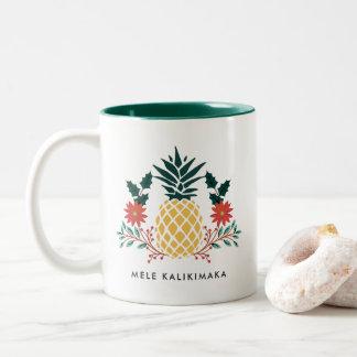 Tasse 2 Couleurs Ananas hawaïen de Noël de Mele Kalikimaka |