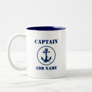 Tasse 2 Couleurs Ancre bleue et corde Nom et nom du bateau