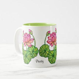 Tasse 2 Couleurs Aquarelle Lotus rose avec les bourgeons et le