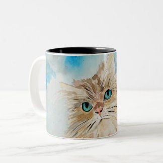 Tasse 2 Couleurs Art mignon d'aquarelle de chat persan