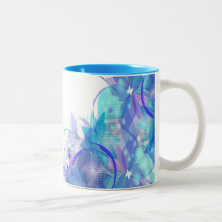 Tasse 2 Couleurs Blue abstract flowers