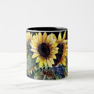 Tasse 2 Couleurs Bouquet de tournesol sur le noir