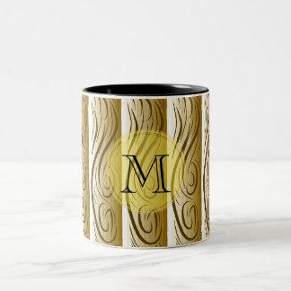 "Tasse 2 Couleurs Brown ""art en bois"", monogramme"
