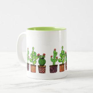 Tasse 2 Couleurs Cactus mignon d'aquarelle dans des pots