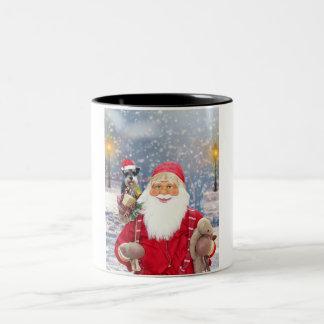 Tasse 2 Couleurs Chien de Schnauzer miniature de Noël du père noël