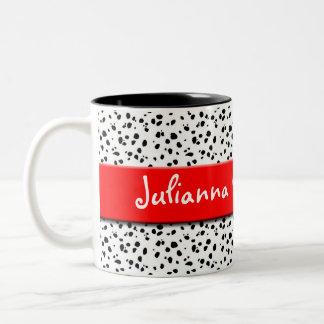 Tasse 2 Couleurs Copie dalmatienne avec le rouge et le nom