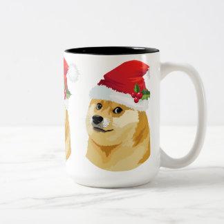 Tasse 2 Couleurs Doge de Noël - doge de père Noël - chien de Noël