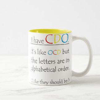 Tasse 2 Couleurs Drôle j'ai CDO comme OCD