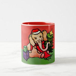 Tasse 2 Couleurs Éléphant mignon de fête de Père Noël de Noël