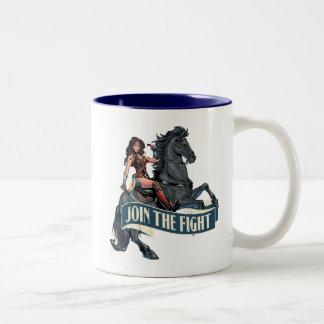 Tasse 2 Couleurs Femme de merveille sur l'art comique de cheval