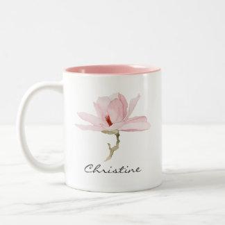 Tasse 2 Couleurs Fleur de magnolia d'aquarelle avec votre nom