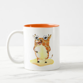 Tasse 2 Couleurs Girafe lunatique d'aquarelle collectable