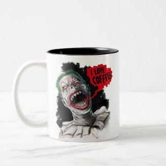 Tasse 2 Couleurs J'aime le clown riant fou de zombi de café