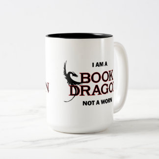 Tasse 2 Couleurs Je suis un dragon de livre, pas un ver