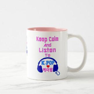 Tasse 2 Couleurs le calme de ♪♥Keep et écoute KPop Mug♥♫ à deux
