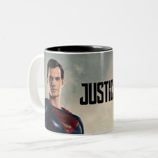 Tasse 2 Couleurs Ligue de justice | Superman sur le champ de