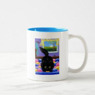 Tasse 2 Couleurs Lit drôle Creationarts de souris de chat noir