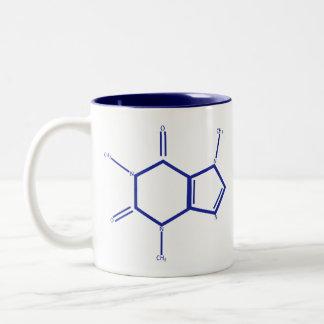 Tasse 2 Couleurs Molécule de caféine - bleu