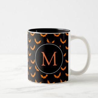 Tasse 2 Couleurs Noir avec les battes oranges de Halloween de