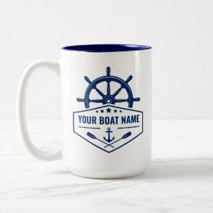 Tasse 2 Couleurs Nom de votre bateau Oars de Ancre nautique de gran