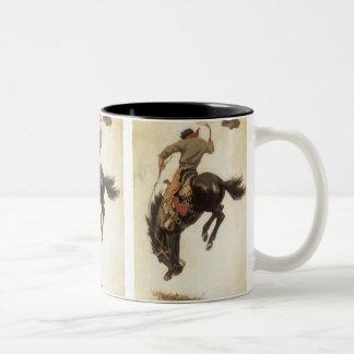 Tasse 2 Couleurs Occidental vintage, cowboy sur un cheval