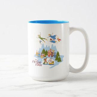 Tasse 2 Couleurs Peter Pan volant au-dessus de Neverland