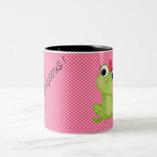 Tasse 2 Couleurs Pois, message Froggy-De motivation mignon