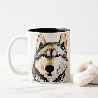 Tasse 2 Couleurs Portrait de loup de bois de construction
