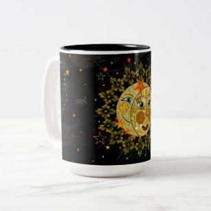 Caf/_ Carte De Tarot Artwork €toile Lune Sun C/_ramique Mug Tasse