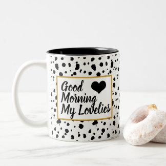 Tasse 2 Couleurs Taches dalmatiennes à la mode de Lovelies bonjour