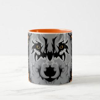 Tasse 2 Couleurs Tête tribale grise de loup