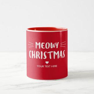 Tasse 2 Couleurs Vacances rouges mignonnes de Noël | de Meowy de