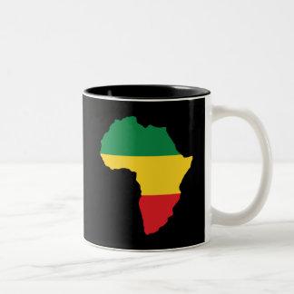 Tasse 2 Couleurs Vert, or et drapeau rouge de l'Afrique
