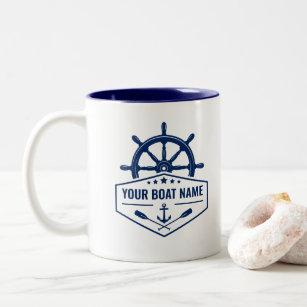 Tasse 2 Couleurs Votre nom de bateau La Ancre nautique Oars Helmer